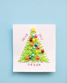 Diy string art christmas cards with just some simple, inexpensive items available at a craft or dollar store, your child will create designer worthy cards Christmas Arts And Crafts, Homemade Christmas Cards, Christmas Tree Cards, Christmas Sewing, Xmas Crafts, Handmade Christmas, Felt Christmas, Simple Christmas, Holiday Cards
