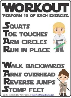 Star Wars Workout freebie from the Star Wars Sensory Motor Packet - Fine Motor, Gross Motor, and Visual Perceptual Activities with a Star Wars Theme Sensory Motor, Gross Motor Activities, Toddler Activities, Learning Activities, Kids Learning, Physical Activities For Kids, Space Activities, Yoga For Kids, Exercise For Kids