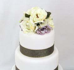 Wedding Cake Topper - Calla Lily, Ivory and Lavender Rose Silk Flower Cake Topper by ItTopsTheCake