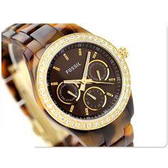 Glam Chronograph --> Fossil Women's Watch Tortoise Resin Bracelet STELLA Swarovski /Box ES2795 #Fossil #Dress #Fashion #Animal print $99.77