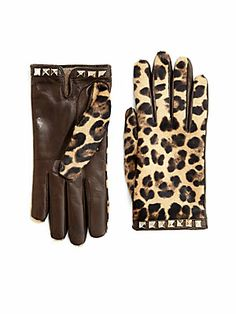 Valentino Leopard-Print Leather & Calf Hair Gloves