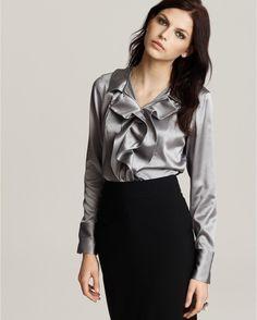 Ruffled silk satin blouse
