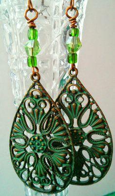 Green Filigree Earrings, Women's Handmade Womens Earrings, Green Beaded Dangles, Statement Piece