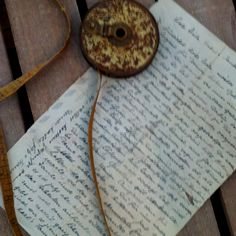 Vintage hand written letter and old tape