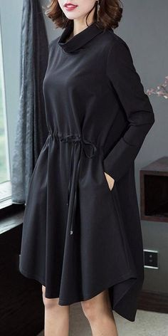 Loose Black High Neck Drawing Dresses For Women Source by owkarping dress drawing Iranian Women Fashion, Black Women Fashion, Muslim Fashion, Hijab Fashion, Fashion Dresses, Women's Fashion, Fashion Stores, Fashion 2018, Stylish Dresses