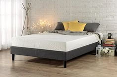 Zinus Essential Upholstered Platform Bed Frame / Mattress Foundation / no Boxspring needed / Wood Slat Support, Queen - The Essential Platform Bed by Zinus is a minimalistic, stylish bed base that works well with a variety of decorating styles and lets you easily update the look of your room. Top-quality grey upholstery covers this platform bed frame. A box spring is not necessary with the Essential Platform Bed a...