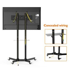1home Mobile TV Trolley Stand Mount Cart Exhibition Display for 30 -65  Plasma LCD LED