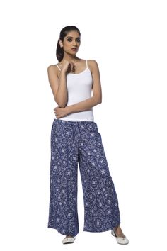 De Moza Regular Palazzo Pant 100% Viscose Twill Printed!