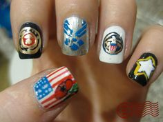 Good Pictures Fall Nail Art navy Suggestions Offer wonderful glitters your fall-perfect upgrade having an uber rather autumn leaf inside bright l Military Nails, Army Nails, Spring Nails, Summer Nails, Navy Nail Art, Usa Nails, Patriotic Nails, Nail Art Blog, Clean Nails