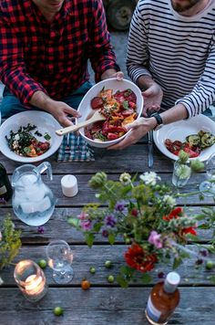 A Simple Evening: Summer's End | The Fresh Exchange Fresco, Outdoor Dinner Parties, Dinner Menu, Dinner Table, End Of Summer, Vegetable Dishes, Quick Meals, The Fresh, Food Photography
