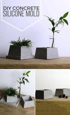 DIY geometric quadrilateral flower pot silicone mold. I love concrete planters. #ad #concrete #siliconemold #flowerpot #planter #homedecor #cement #mold #diy #craft #geometric