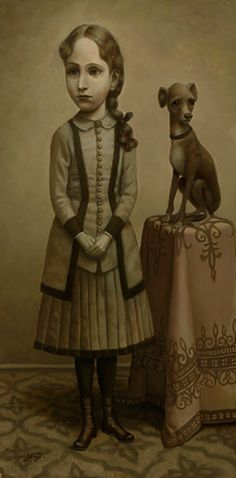 """""""Girl with a Dog"""" Oil on canvas x 2008 by Marion Peck--American painter, born in Manila Philippines while her family was on a trip around the world. Illustrations, Illustration Art, Marion Peck, Mark Ryden, Lowbrow Art, Whimsical Art, Dog Art, Les Oeuvres, Amazing Art"""