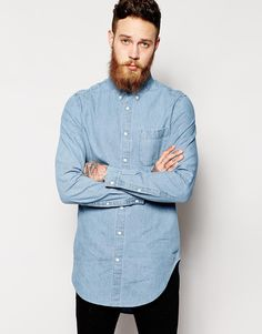 Image 1 of ASOS Denim Shirt In Super Longline With Mid Wash