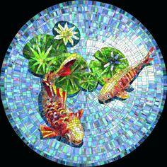 Мозаичное панно Золотые рыбки