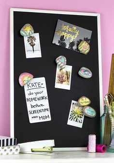 Create this project with Americana® Premium™ Mediums — Decorate your locker with this cute set of rock magnets made with Pearlizing Medium!