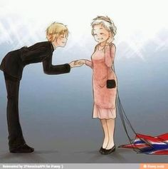 Arthur and the queen. D-did she just parachute?!