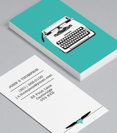 Vintage Typewriters: Business Cards for journalists, freelance writers, editors, copywriters, bloggers and novelists don't have to have a way with words – in fact, you can cut out the text altogether! #moocard #businesscard