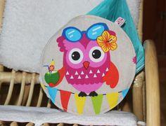 coussin hibou multicolore : Textiles et tapis par fastoche