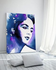 My fine art prints are created using acid-free textured archival paper / 100% cotton canvas and pigment inks, resulting in lush graphics that will last a lifetime. Archival quality Art Print of my original watercolour portrait in vivid blues, violet and indigo, from my Hollywood Regency series Old Hollywood. Direct from my studio in Suffolk, England, signed & dated. Shipped unframed, packaged in a cellophane sleeve, rolled in a sturdy art tube for safe delivery. Choose from aci...