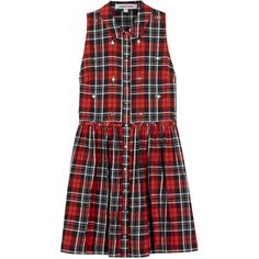 Elizabeth And James Beau Embellished Plaid Dress (€64) ❤ liked on Polyvore featuring dresses, vestidos, robes, short dresses, tartan dress, plaid dress, embellished dresses and red tartan dress