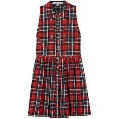 Elizabeth And James Beau Embellished Plaid Dress (1.035 ARS) ❤ liked on Polyvore featuring dresses, vestidos, robes, short dresses, embellished dress, red dress, embellished short dress and red embellished dress