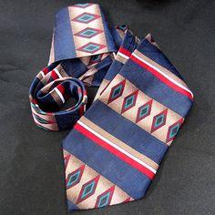 1960s Wembley Tribal Geometric Southwestern Aztec Necktie Diamonds Striped USA #Wembley #Tie