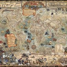 Bella Terra Publishing offers THE GOLDEN AGE OF PIRATES illustrated map poster and the PIRATES line of notecards and matted prints, featuring historical images of noted figures from the Golden Age of Piracy. Pirate Treasure Maps, Pirate Maps, Map Wallpaper, Photo Wallpaper, Antique Maps, Vintage Maps, Ancient Maps, Site Art, Wall Maps