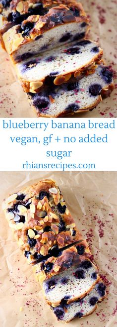 This Gluten-Free Vegan Blueberry Banana Bread is seriously moist, sweet and fruity, and there's no added sugar!