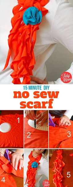 Have the latest fashion accessory! Learn how to turn t-shirts into scarfs in just minutes - no sewing required with this simple DIY t-shirt scarf tutorial Sewing Shirts, Sewing Clothes, Diy Clothes, No Sew Scarf, Scarf Shirt, T Shirt Scarves, Silk Scarves, Fabric Crafts, Sewing Crafts