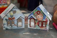 Glitter Putz houses from old Christmas Cards - will be awesome to do with Les Enfants in a few years.