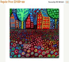 50% Off Today- Landscape art Tile Ceramic Coaster Mexican Folk Art Print of painting by Heather Galler