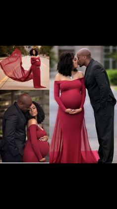 Beautiful red and black maternity outdoor photo shoot of this African American couple in love