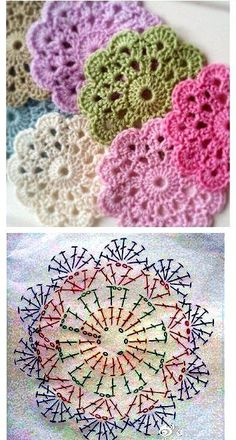 Transcendent Crochet a Solid Granny Square Ideas. Inconceivable Crochet a Solid Granny Square Ideas. Flower Motif, Crochet Flower Patterns, Crochet Mandala, Afghan Crochet Patterns, Crochet Chart, Crochet Squares, Crochet Doilies, Crochet Flowers, Knitting Patterns