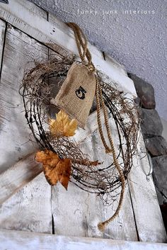 barbed wire fall wreath by Funky Junk Interiors