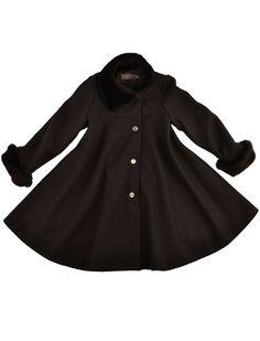 La stupenderia handmade virgin woolen flared wintercoat in chocolate brown. A winter fairy tail.