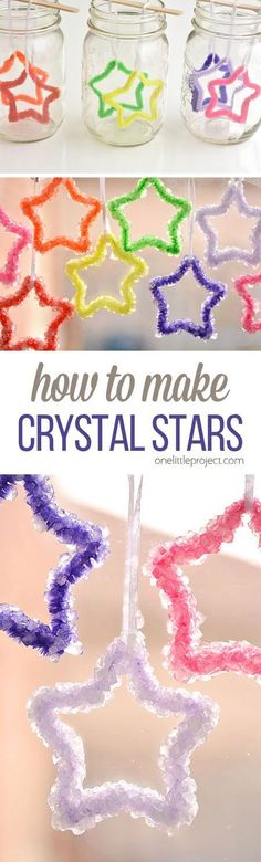 How to Make Crystal Stars OK you guys, I think I've fallen in love with another kids activity. These crystal stars are awesome! Any activity where I get to make something beautiful from bright rainbow colours, and I'm totally on board! Summer Crafts, Holiday Crafts, Fun Crafts, Arts And Crafts, Tree Crafts, Summer Fun, Christmas Crafts For Kids To Make, Etsy Crafts, Space Crafts