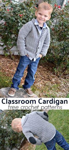 Cozy Classroom Cardigan free crochet pattern for 45t