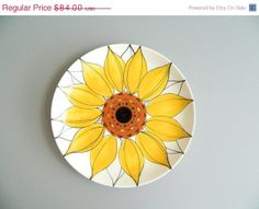 SALE 10 OFF Arabia Finland Yellow Sunflower by MonkiVintage, $75.60