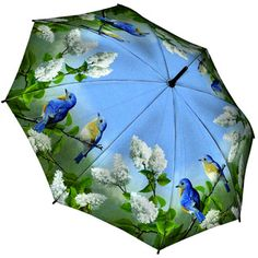 Very Pretty! Hautman Brothers Art Print Walking Length Umbrella - Bluebirds