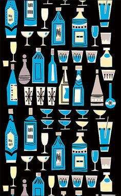 Mid Century Modern graphic design #illustration #cocktails