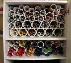DIY Vinyl Storage [Tutorial] : various sizes of PVC pipe cut into lengths that fit your cupboard... so clever! Just thinking out loud, would also work for rolls of wrapping paper (in a upright position)!!