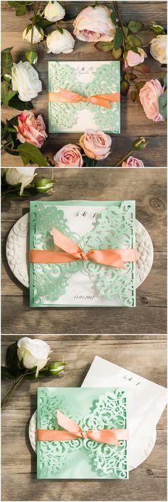 elegant mint green and peach laser cut wedding invitations ewws103