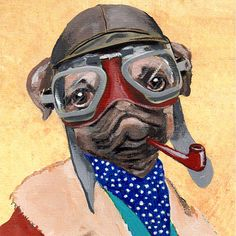 Pipe Smoking Pug   PRINT ARTWORK by CocktailZoo on Etsy, $10.00