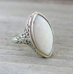 Vintage 3 Carat Opal Engagement Anniversary Filigree Ring 18kt White Gold on Etsy, $985.00