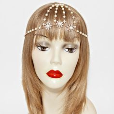 Crystal & Pearl Triple Flower Head Piece - Ice It