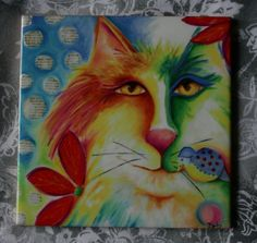 Cat bird ceramic tile coaster Abstract Fevrier Chat by DebHarvey, $12.00