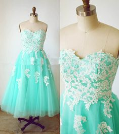 Maxi Dresses, Tea Length Prom Dresses,Mint Green Prom Gowns,Lace Appliques Prom Dress,Tulle Prom Dress,Sweetheart Dress, Party Dress, Formal Dresses