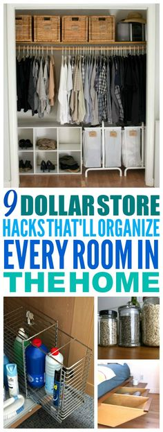 These 9 Dollar Store Organization hacks are THE BEST! I'm so happy I found these AMAZING ideas! Now I have some great organization tips and hacks! Definitely pinning! #organization #organizationtips #organizationhacks #dollarstoreorganization