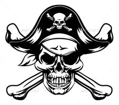 Tatoo Skull And Crossbones Pirate Jolly Roger Wearing Hat And Eye Patch Tattoo Face Wall Art Hanging Tapestry inch Free Vector Illustration, Illustrations, Vector Art, Pirate Hats, Pirate Skull, Pirate Hat Tattoo, Pirate Clothes, Skull Flag, Skull Art