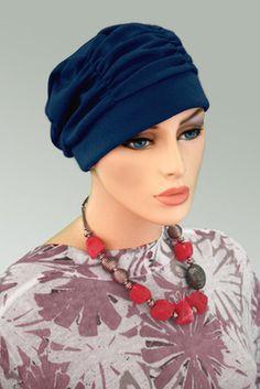 $19.50 - Navy Shirred Cap- @ hatsforyou.net #cancer #chemo #alopecia #hair loss